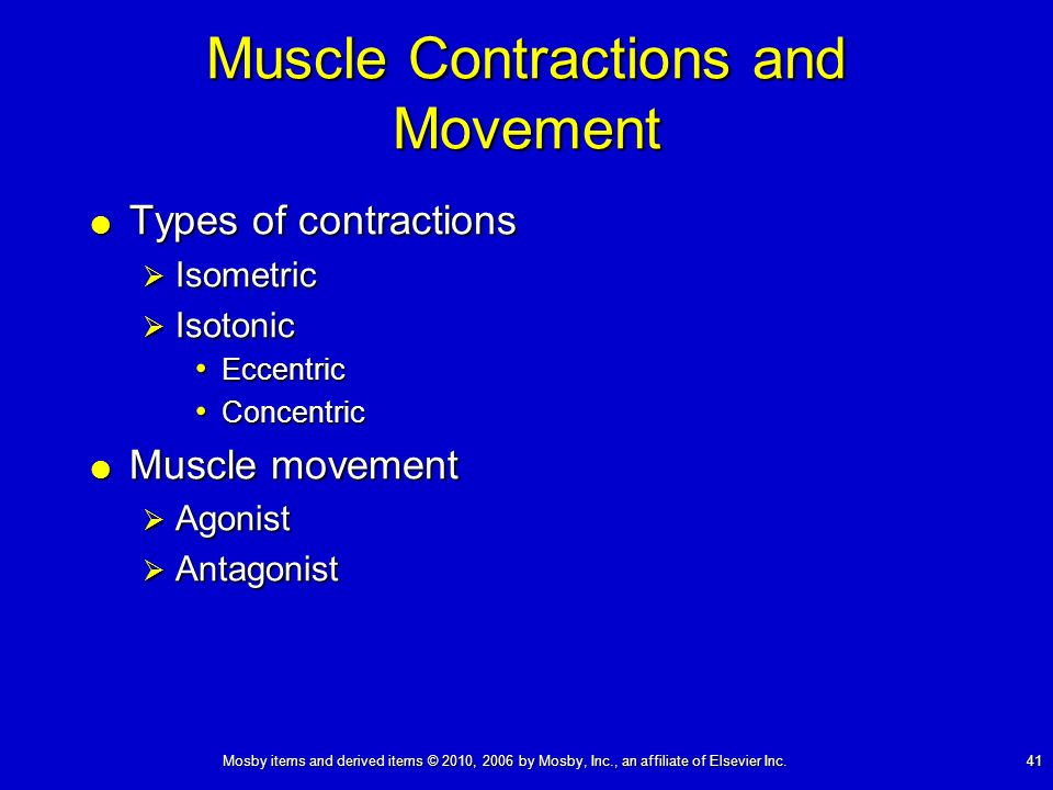 Mosby items and derived items © 2010, 2006 by Mosby, Inc., an affiliate of Elsevier Inc. 41 Muscle Contractions and Movement Types of contractions Typ