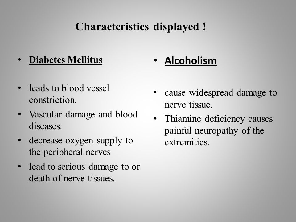 Characteristics displayed . Diabetes Mellitus leads to blood vessel constriction.