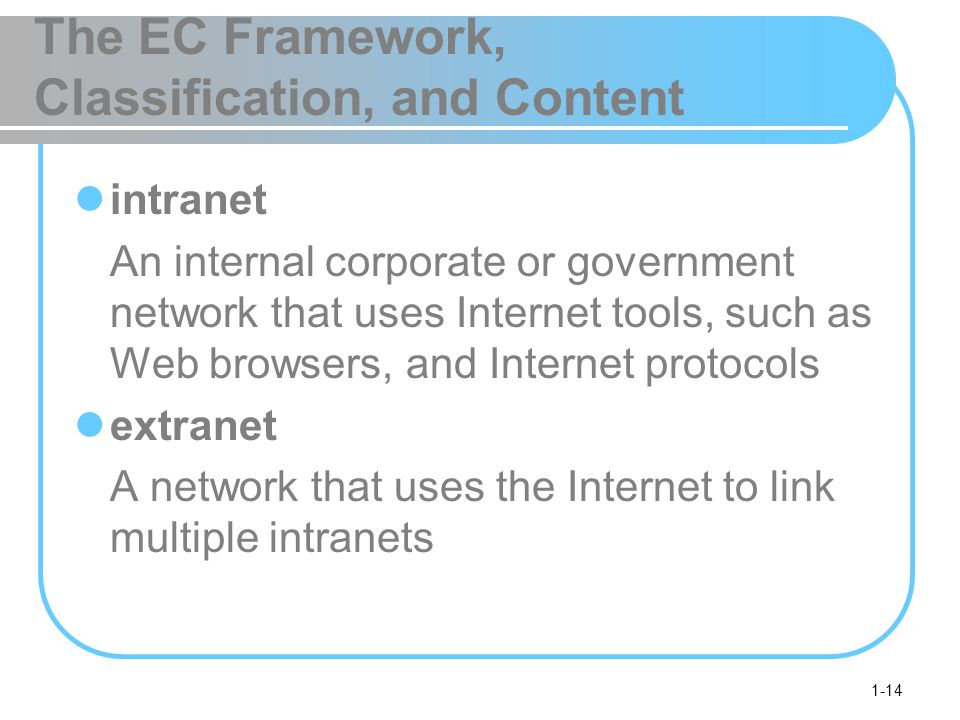 1-14 The EC Framework, Classification, and Content intranet An internal corporate or government network that uses Internet tools, such as Web browsers, and Internet protocols extranet A network that uses the Internet to link multiple intranets