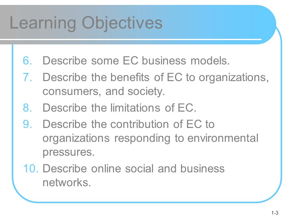 1-3 Learning Objectives 6.Describe some EC business models. 7.Describe the benefits of EC to organizations, consumers, and society. 8.Describe the lim