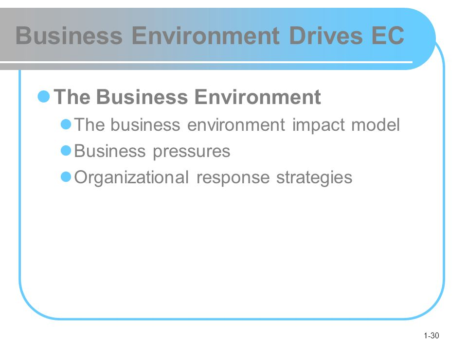 1-30 Business Environment Drives EC The Business Environment The business environment impact model Business pressures Organizational response strategi