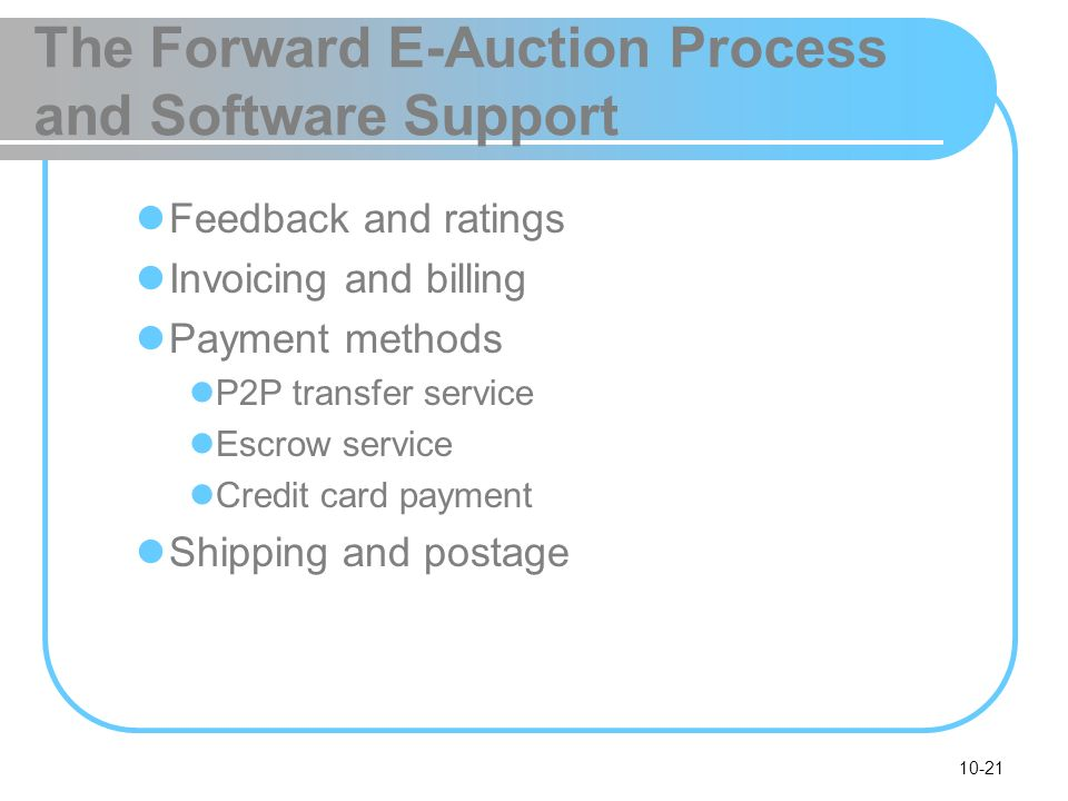 10-21 The Forward E-Auction Process and Software Support Feedback and ratings Invoicing and billing Payment methods P2P transfer service Escrow servic