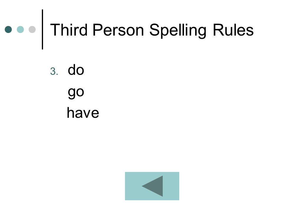 Third Person Spelling Rules 3. do go have