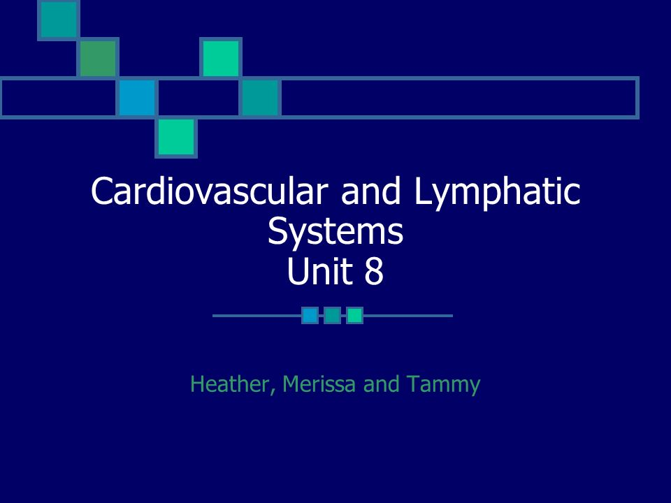 Cardiovascular and Lymphatic Systems Unit 8 Heather, Merissa and Tammy