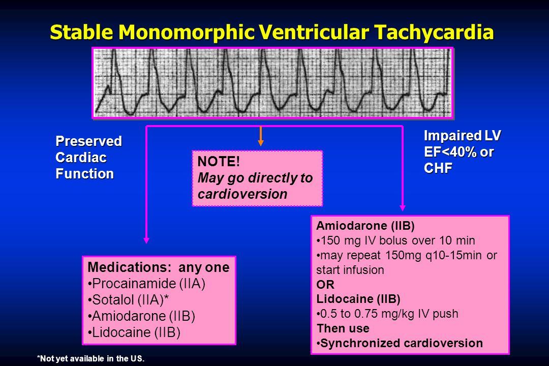 Stable Monomorphic Ventricular Tachycardia Medications: any one Procainamide (IIA) Sotalol (IIA)* Amiodarone (IIB) Lidocaine (IIB) Amiodarone (IIB) 15
