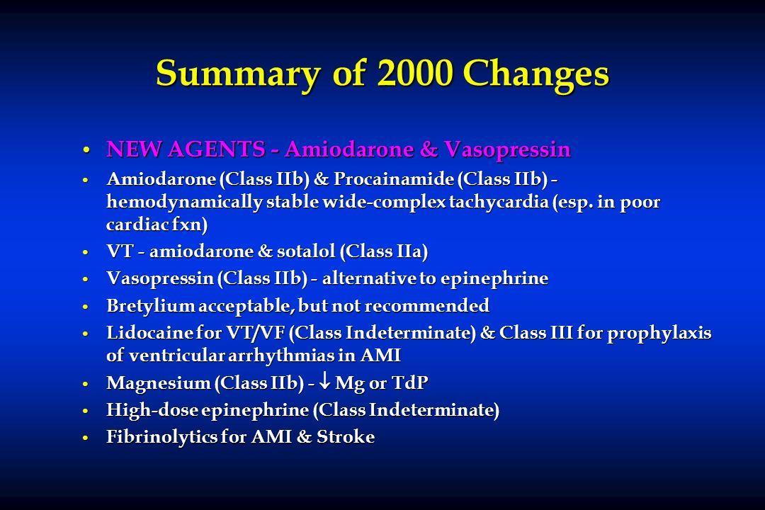 Summary of 2000 Changes NEW AGENTS - Amiodarone & Vasopressin NEW AGENTS - Amiodarone & Vasopressin Amiodarone (Class IIb) & Procainamide (Class IIb)