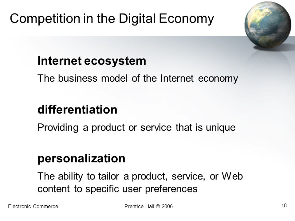 Electronic CommercePrentice Hall © 2006 18 Competition in the Digital Economy Internet ecosystem The business model of the Internet economy differenti