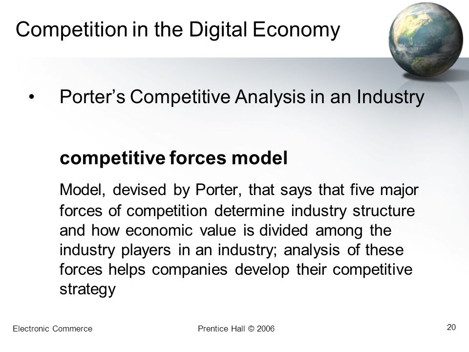 Electronic CommercePrentice Hall © 2006 20 Competition in the Digital Economy Porters Competitive Analysis in an Industry competitive forces model Mod