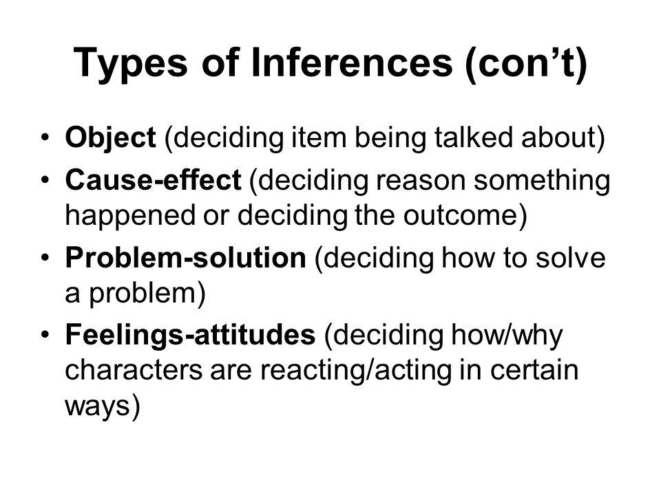 Types of Inferences (cont) Object (deciding item being talked about) Cause-effect (deciding reason something happened or deciding the outcome) Problem-solution (deciding how to solve a problem) Feelings-attitudes (deciding how/why characters are reacting/acting in certain ways)