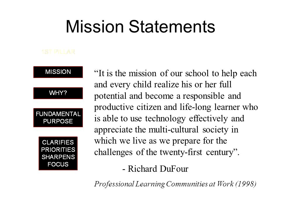 Mission Statements It is the mission of our school to help each and every child realize his or her full potential and become a responsible and product