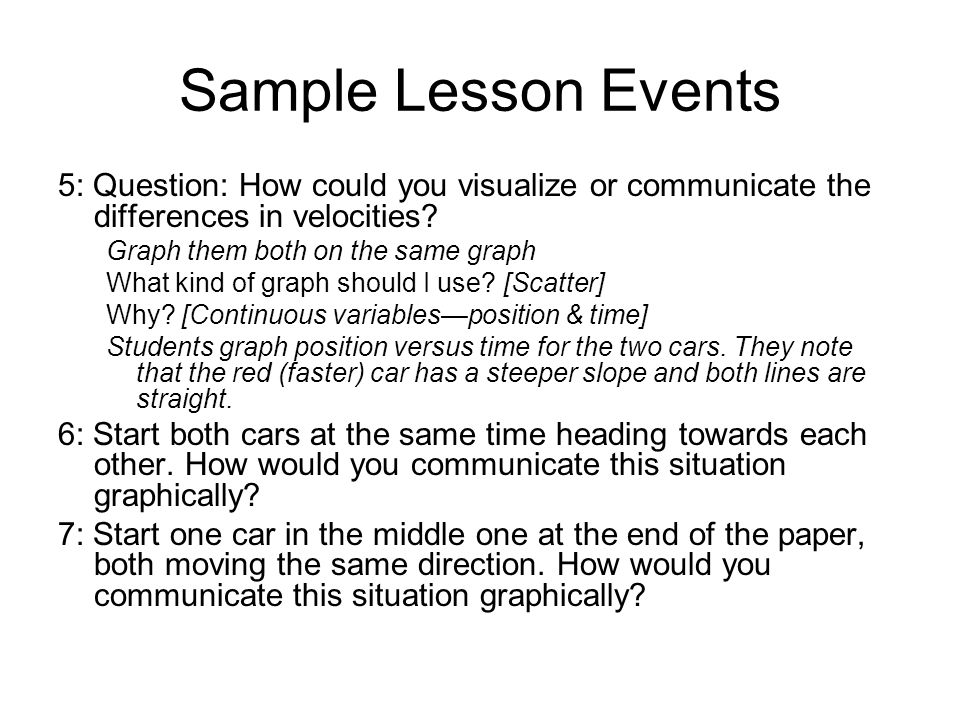 Sample Lesson Events 5: Question: How could you visualize or communicate the differences in velocities.