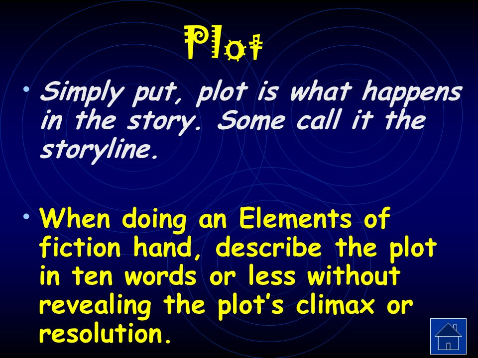 Elements of Fiction Click on the link above each finger to discover one of the five aspects of the elements of fiction.