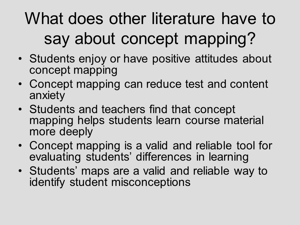 What does other literature have to say about concept mapping.