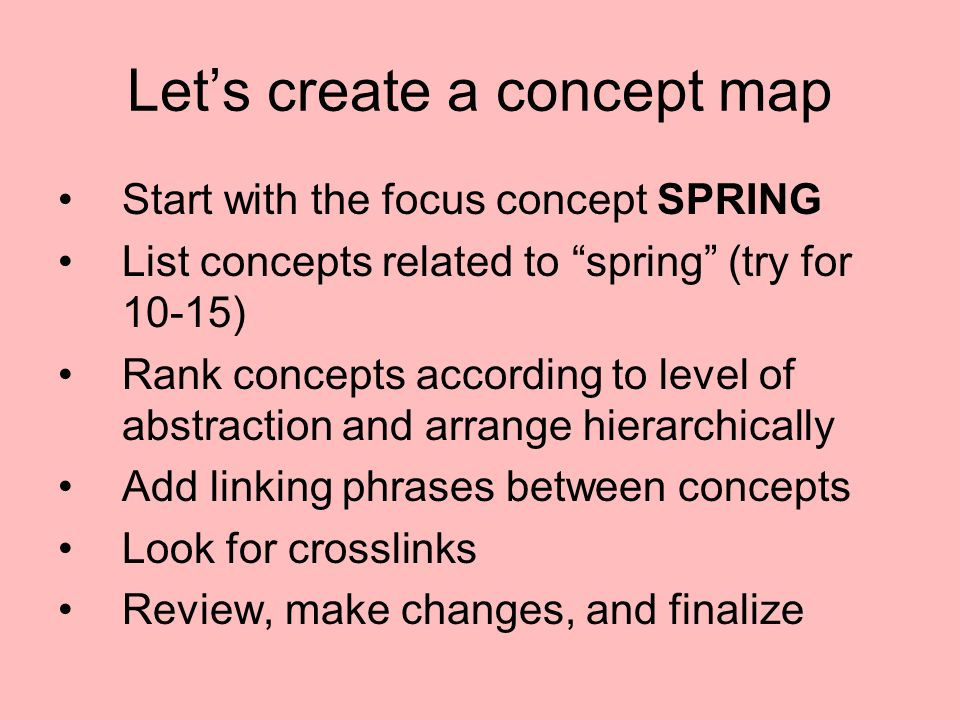 Lets create a concept map Start with the focus concept SPRING List concepts related to spring (try for 10-15) Rank concepts according to level of abst