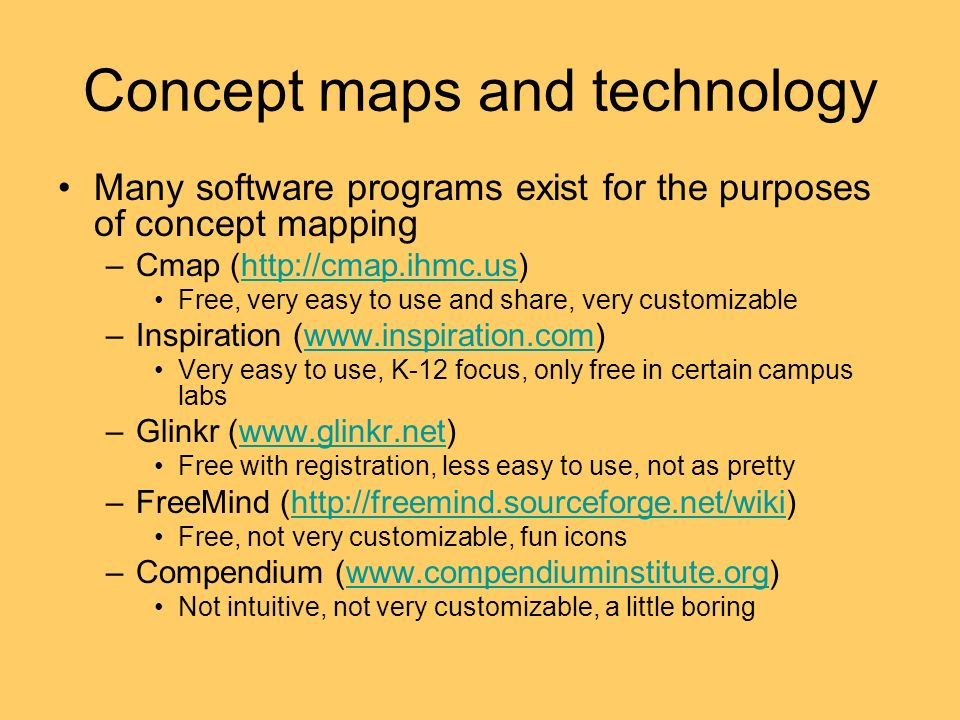 Concept maps and technology Many software programs exist for the purposes of concept mapping –Cmap (http://cmap.ihmc.us)http://cmap.ihmc.us Free, very