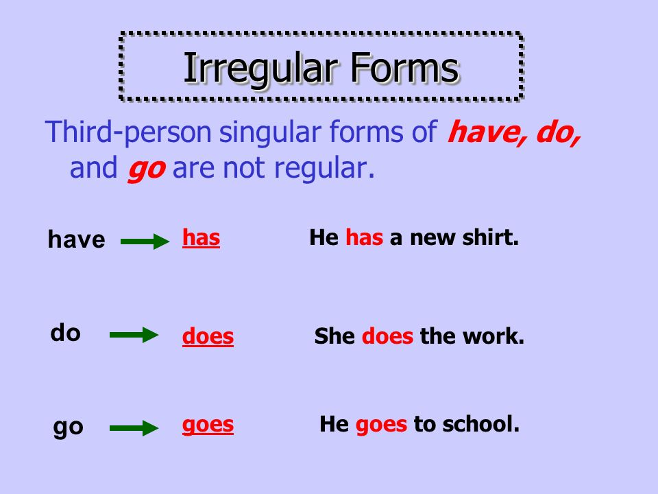 Put an –s or –es ending on third-person singular (he, she, it).