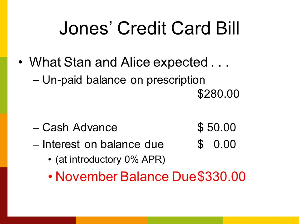 Jones Credit Card Bill What Stan and Alice expected...