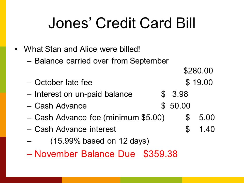 Jones Credit Card Bill What Stan and Alice were billed.