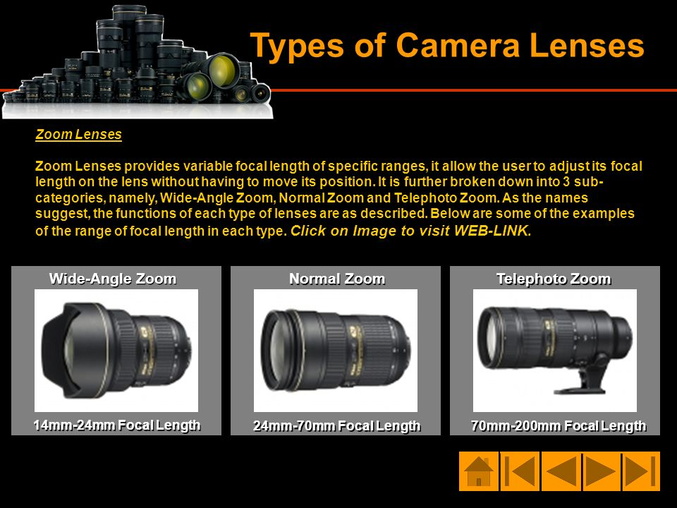 Types of Camera Lenses Zoom Lenses Zoom Lenses provides variable focal length of specific ranges, it allow the user to adjust its focal length on the
