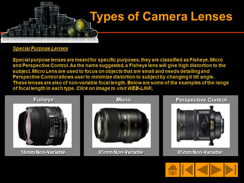 Types of Camera Lenses Special Purpose Lenses Special purpose lenses are meant for specific purposes, they are classified as Fisheye, Micro and Perspe