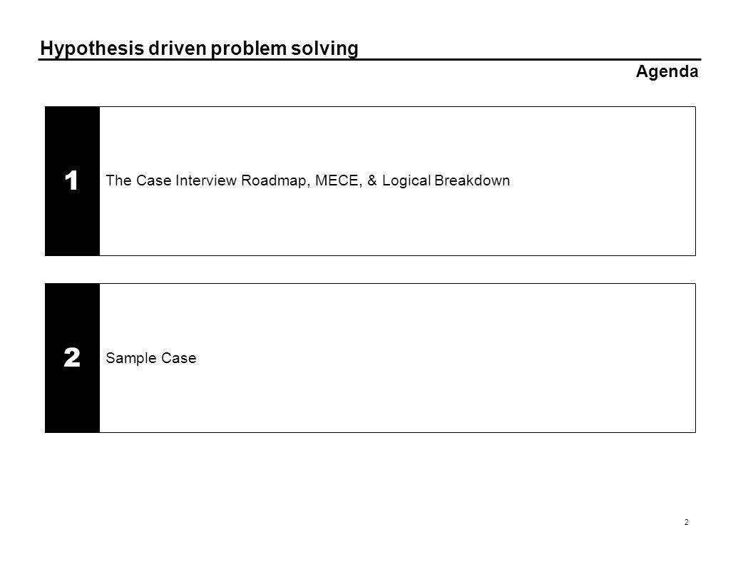 Hypothesis driven problem solving 2 Agenda Sample Case 2 The Case Interview Roadmap, MECE, & Logical Breakdown 1