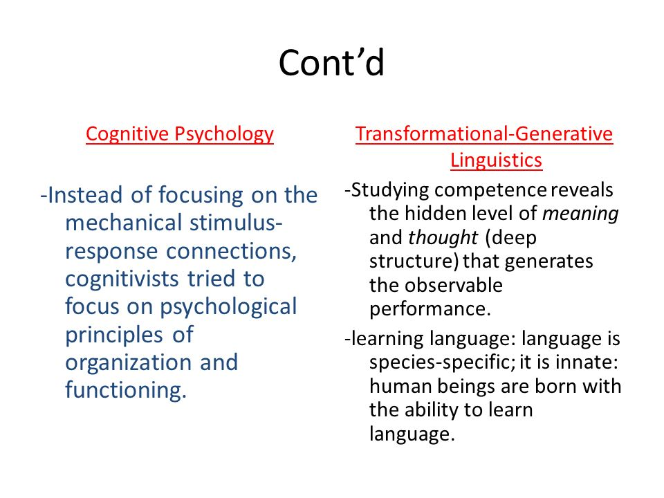 Contd Cognitive Psychology -Instead of focusing on the mechanical stimulus- response connections, cognitivists tried to focus on psychological princip