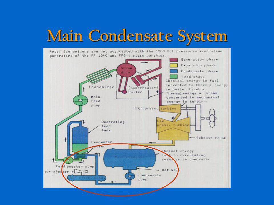 Main Condensate System Provides condensation phase of the main steam cycle Provides condensation phase of the main steam cycle Condenses steam from tu