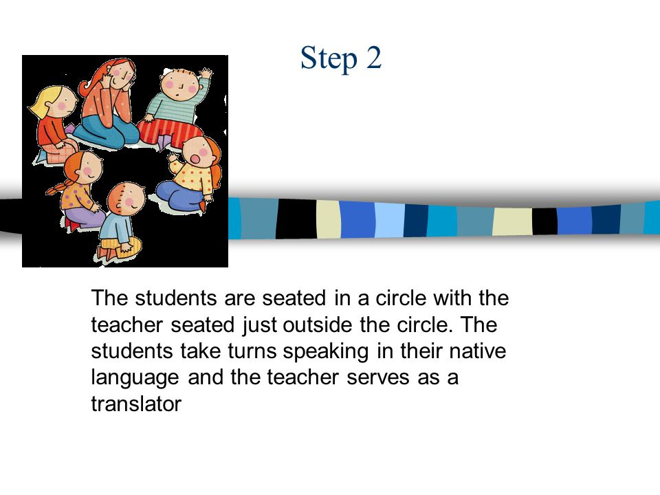 Step 2 The students are seated in a circle with the teacher seated just outside the circle.