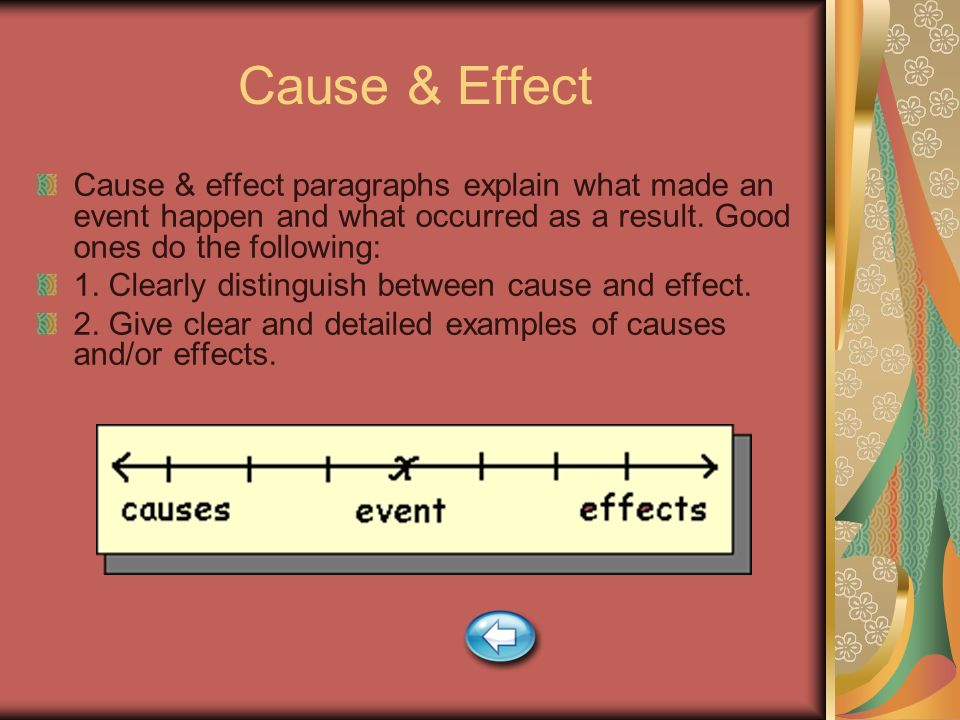 Cause & Effect Cause & effect paragraphs explain what made an event happen and what occurred as a result. Good ones do the following: 1. Clearly disti