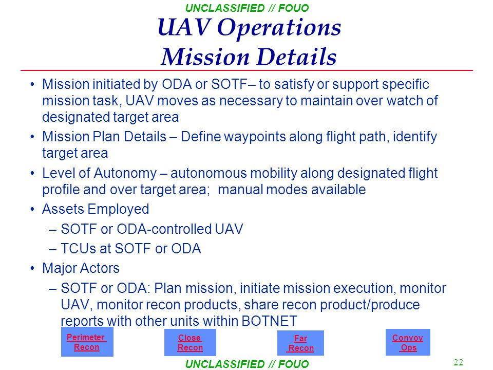 UNCLASSIFIED // FOUO 21 UNCLASSIFIED // FOUO Mobile Recon Mission Details Mission initiated by ODA – to satisfy perimeter security or support specific