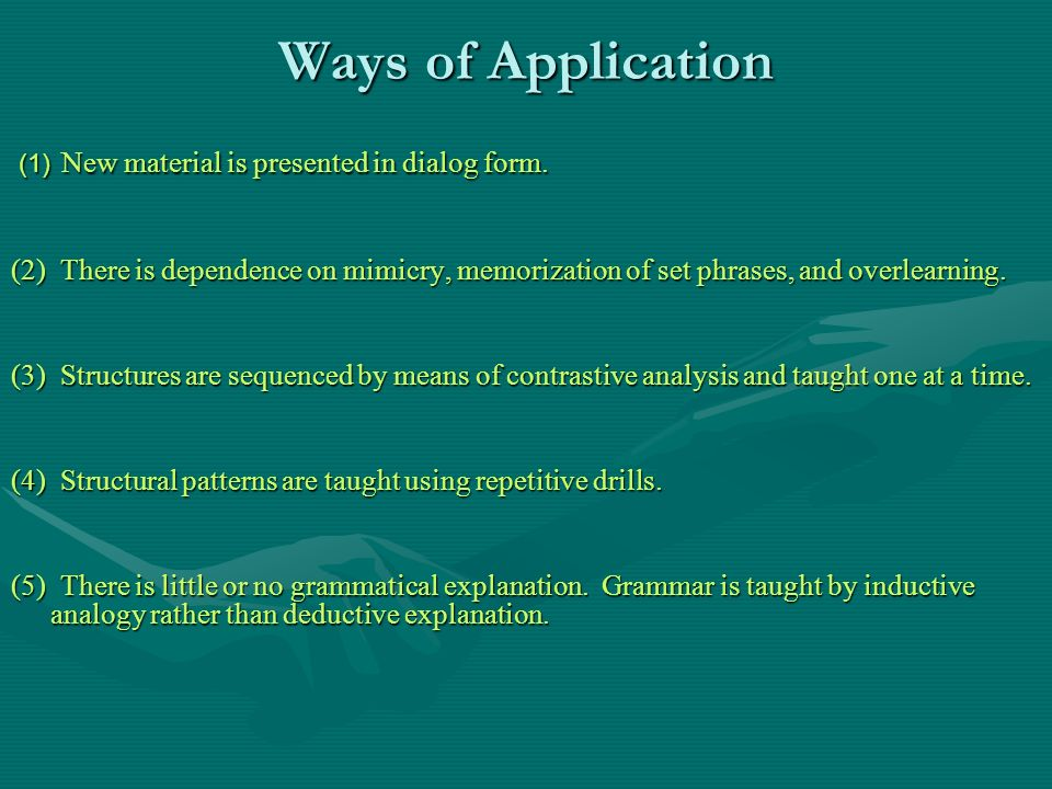 Ways of Application (1) New material is presented in dialog form.