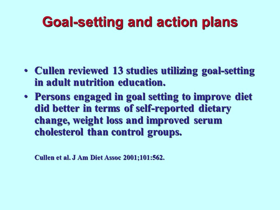Goal-setting and action plans Cullen reviewed 13 studies utilizing goal-setting in adult nutrition education.Cullen reviewed 13 studies utilizing goal
