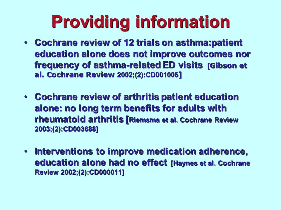 Providing information Cochrane review of 12 trials on asthma:patient education alone does not improve outcomes nor frequency of asthma-related ED visi