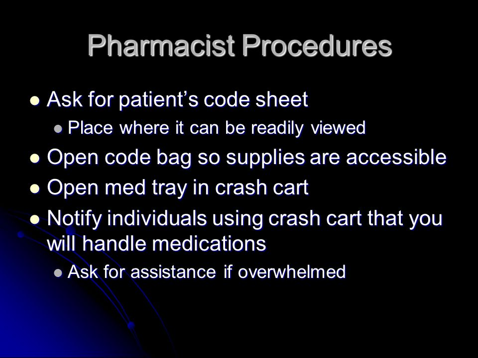 Pharmacist Procedures Ask for patients code sheet Ask for patients code sheet Place where it can be readily viewed Place where it can be readily viewe