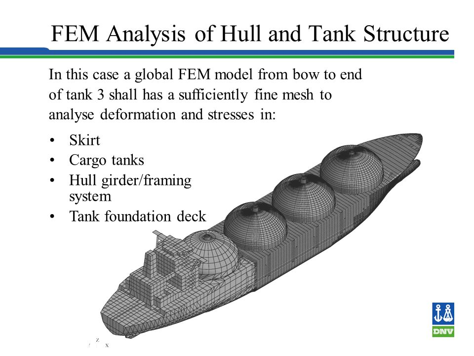 Spherical Tank - frame and girder models 123 4 FEM MODEL REQUIRED FOR CLASS APPROVAL Include hull, skirt, cargo tanks and covers Interaction forces in