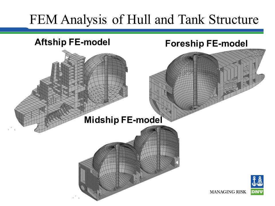 FEM Analysis of Hull and Tank Structure No filling restrictions due to sloshing.