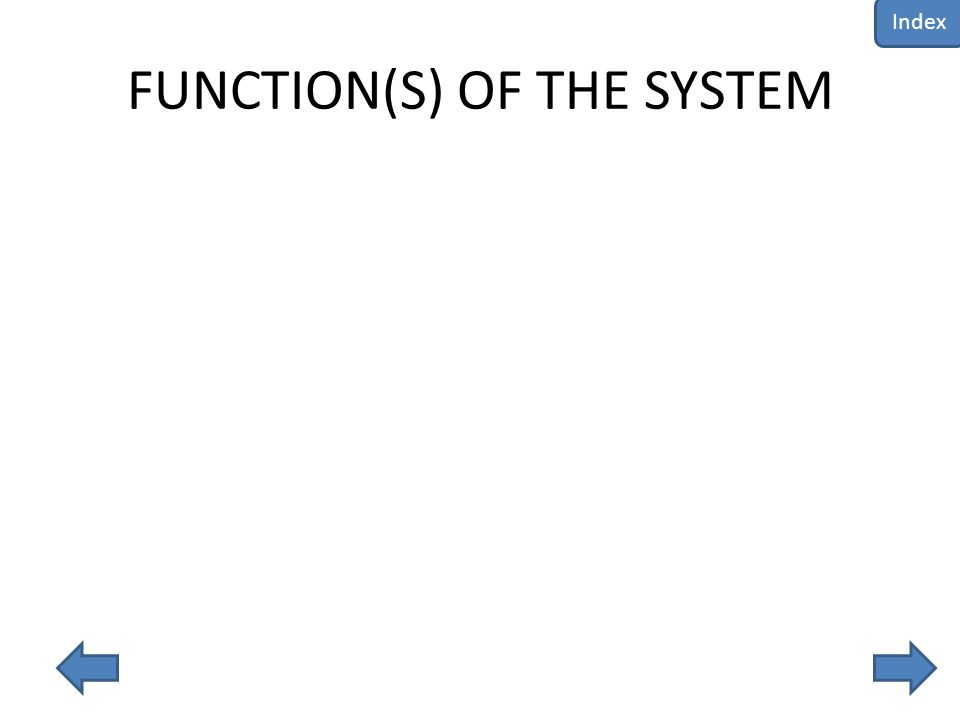 FUNCTION(S) OF THE SYSTEM Index