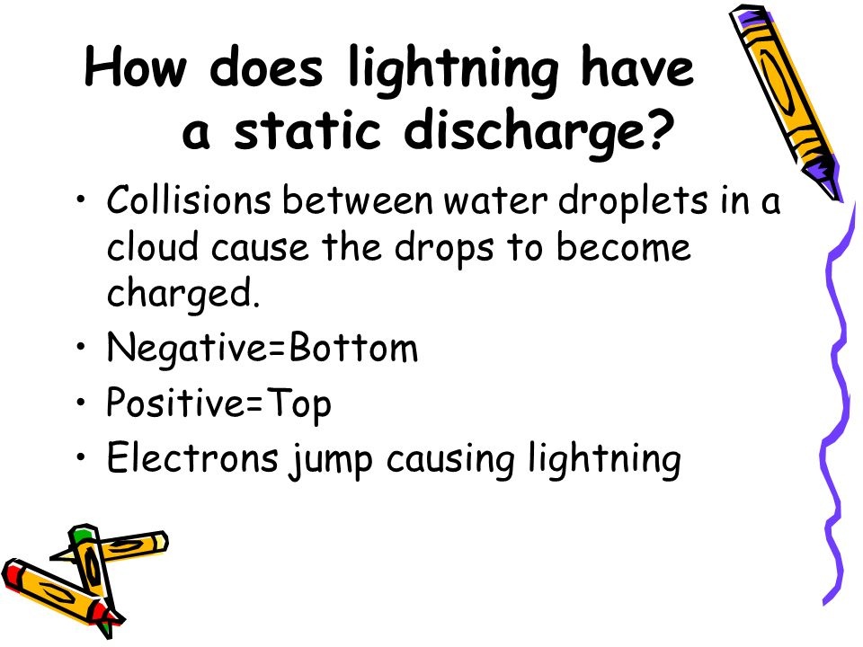 How does lightning have a static discharge? Collisions between water droplets in a cloud cause the drops to become charged. Negative=Bottom Positive=T