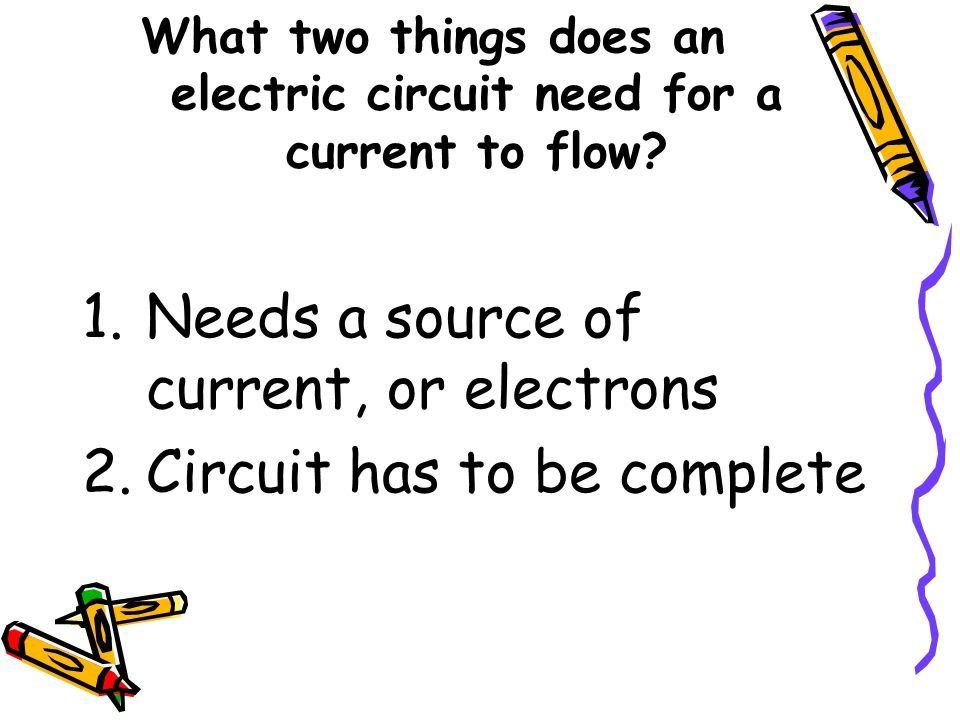 What two things does an electric circuit need for a current to flow? 1.Needs a source of current, or electrons 2.Circuit has to be complete
