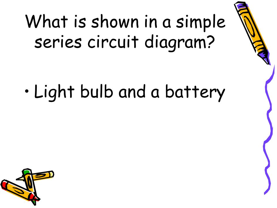 What is shown in a simple series circuit diagram? Light bulb and a battery