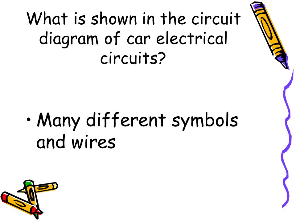 What is shown in the circuit diagram of car electrical circuits? Many different symbols and wires