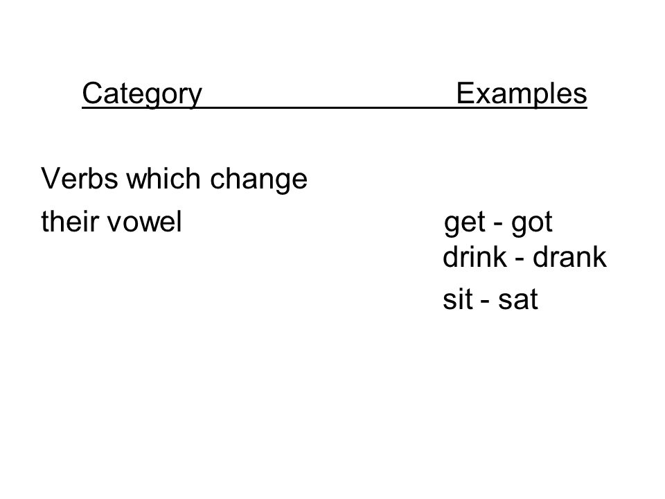 Category Examples Verbs which change their vowel get - got drink - drank sit - sat