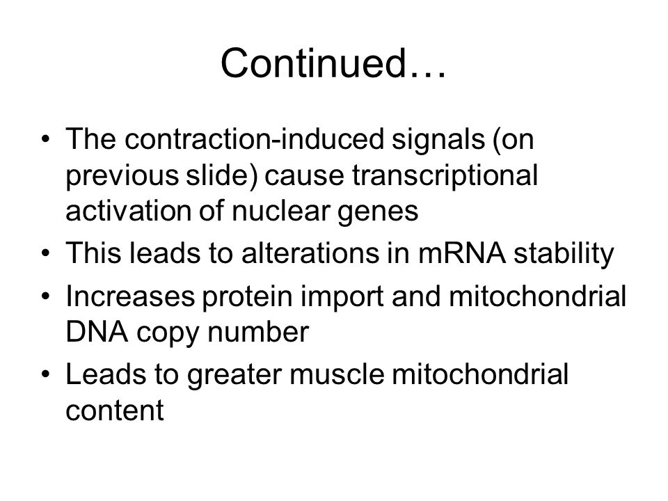 Continued… The contraction-induced signals (on previous slide) cause transcriptional activation of nuclear genes This leads to alterations in mRNA sta