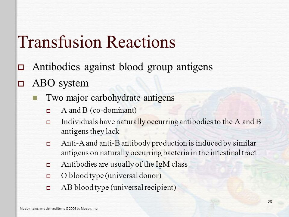 Mosby items and derived items © 2006 by Mosby, Inc. 26 Transfusion Reactions Antibodies against blood group antigens ABO system Two major carbohydrate