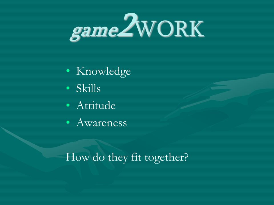 game 2 WORK Knowledge Skills Attitude Awareness How do they fit together