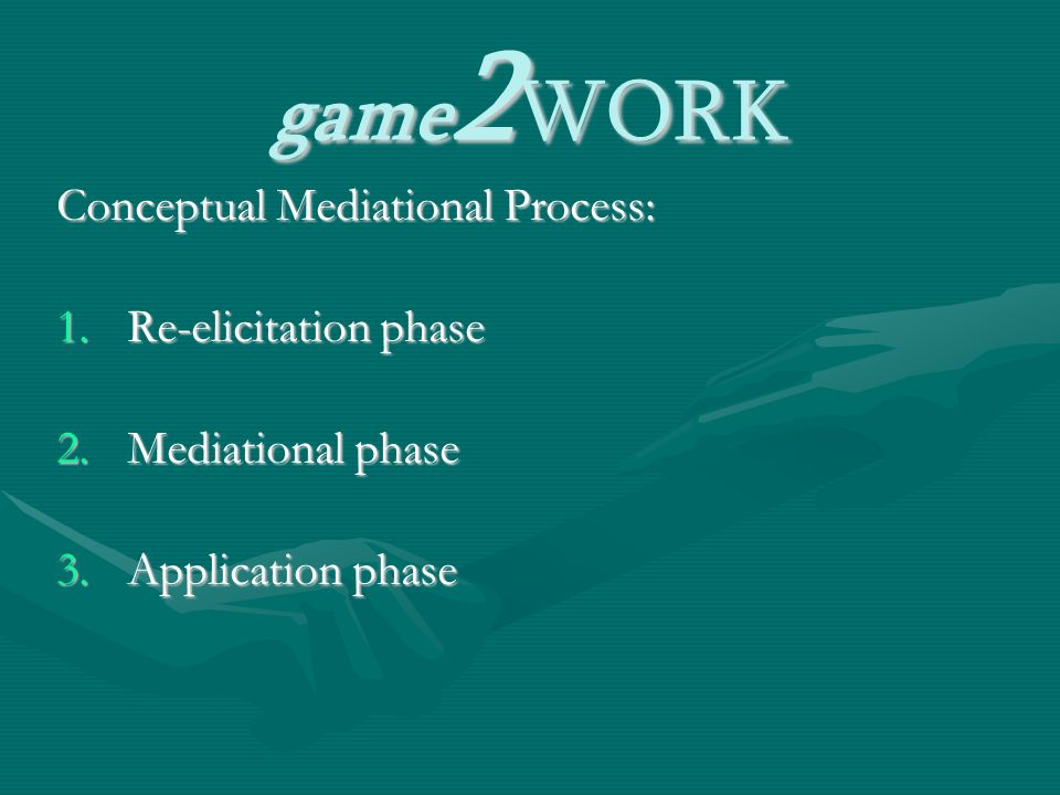 game 2 WORK Conceptual Mediational Process: 1.Re-elicitation phase 2.Mediational phase 3.Application phase