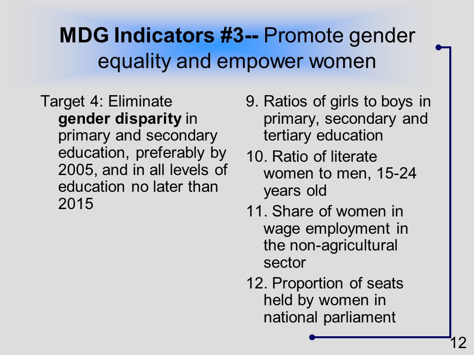 12 MDG Indicators #3-- Promote gender equality and empower women Target 4: Eliminate gender disparity in primary and secondary education, preferably b