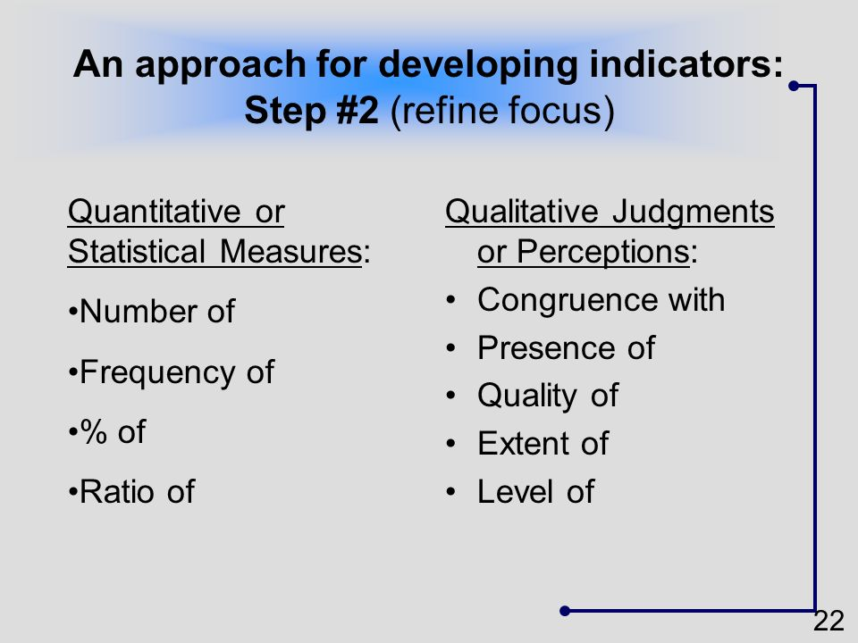 22 An approach for developing indicators: Step #2 (refine focus) Qualitative Judgments or Perceptions: Congruence with Presence of Quality of Extent o