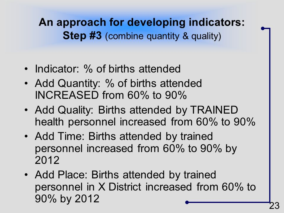 23 An approach for developing indicators: Step #3 (combine quantity & quality) Indicator: % of births attended Add Quantity: % of births attended INCR