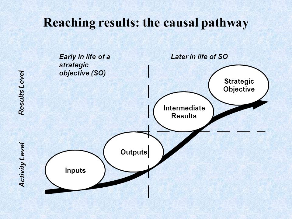 Results Level Activity Level Inputs Outputs Intermediate Results Strategic Objective Early in life of a strategic objective (SO) Later in life of SO Reaching results: the causal pathway